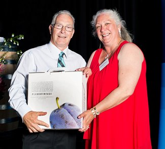Mark at 2014 ANZ Geographe Wine Show accepting the award for Doral Mineral Sands Best WA Alternative for the 2014 Arneis. presenter of award Franciena Draper, Doral Mineral Sands.