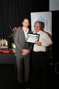 Mark, Vineyard 28 accepting the Award for Best Geographe Sweet Table Wine from Sponsor Laser Electrical. Geographe and WA Alternative Varieties Wine Show