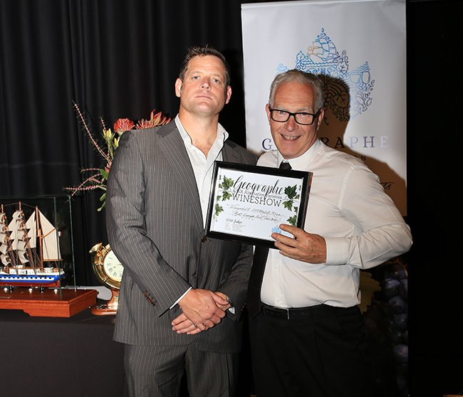 Mark, Vineyard 28 accepting the Award for Best Geographe Sweet Table Wine from Laser Electrical