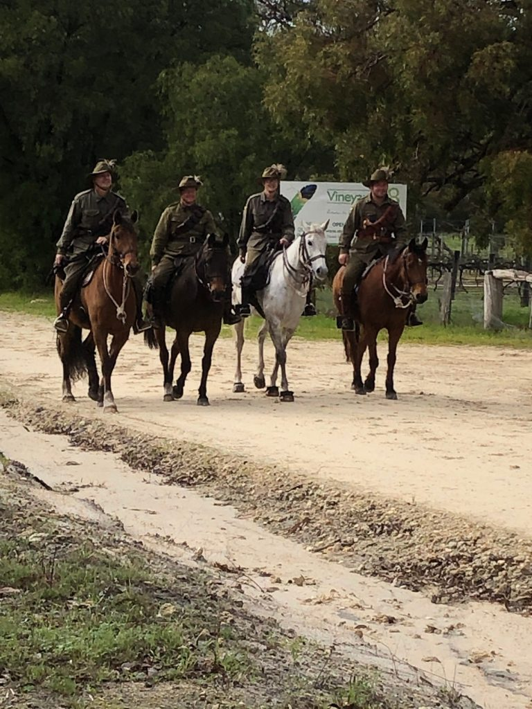 Members of the 10th Light Horse Bunbury Troop departing Sunday morning